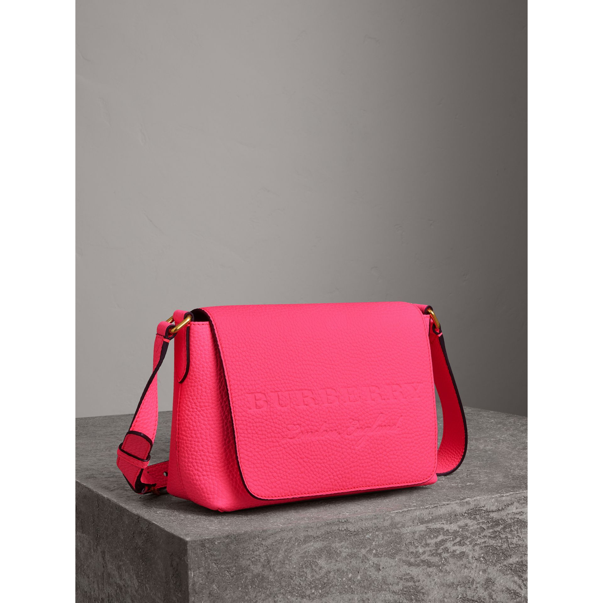 Small Embossed Neon Leather Messenger Bag in Pink - Women | Burberry United States - gallery image 4