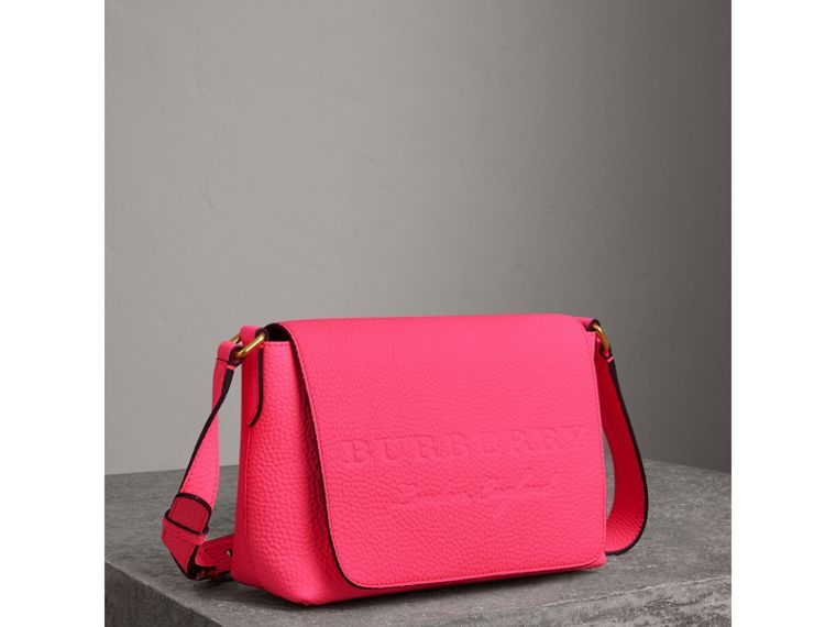 Small Embossed Neon Leather Messenger Bag in Pink - Women | Burberry - cell image 4