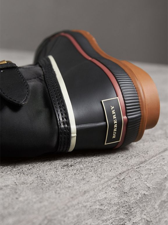 Rubber Leather Blend Duck Boots in Black | Burberry - cell image 1