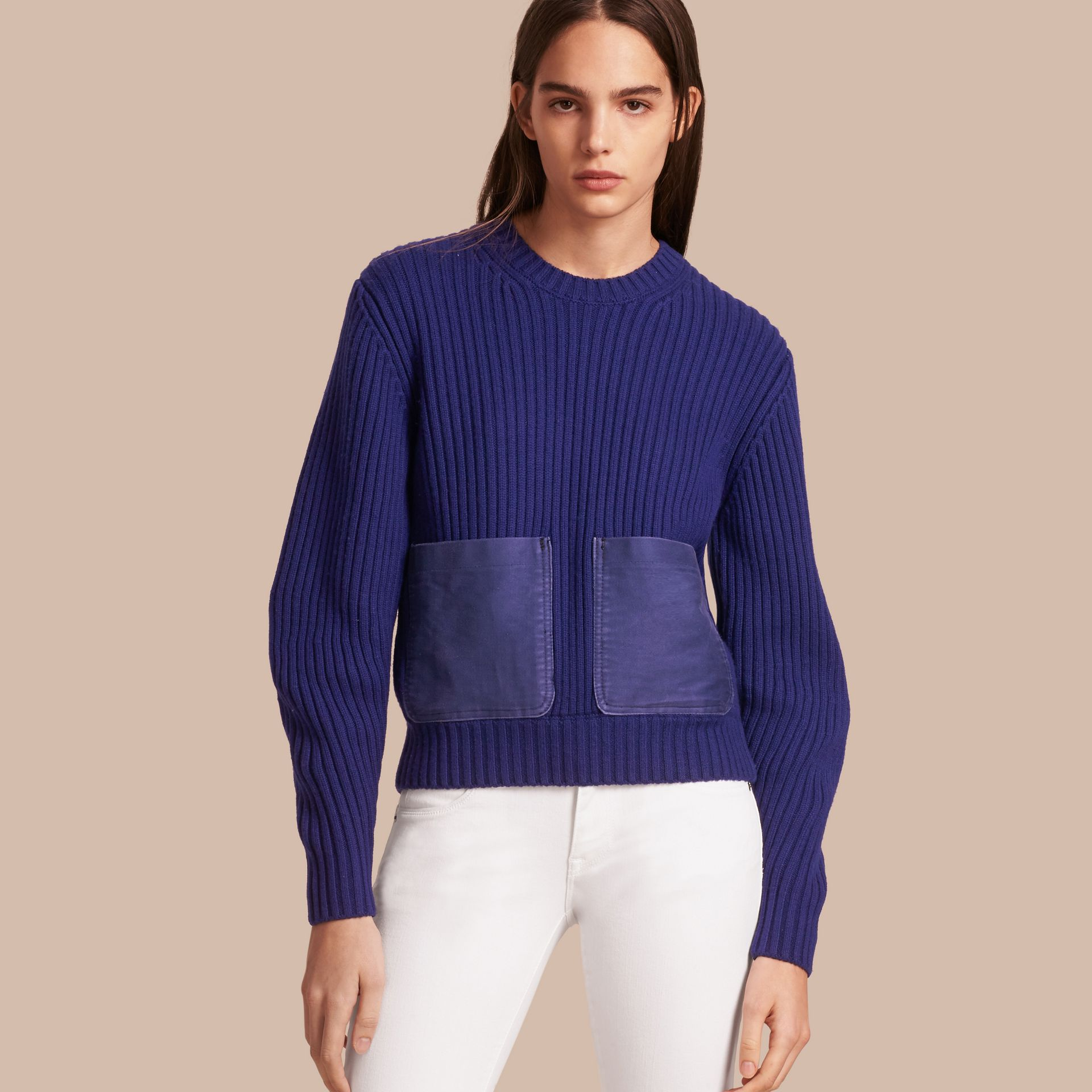 Oversize Pocket Detail Rib Knit Cashmere Cotton Sweater in Bright Navy - Women | Burberry - gallery image 1
