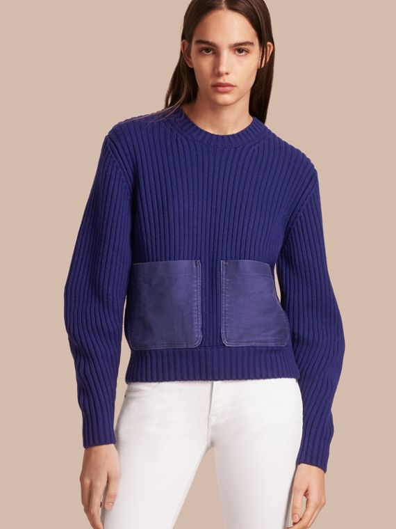 Oversize Pocket Detail Rib Knit Cashmere Cotton Sweater