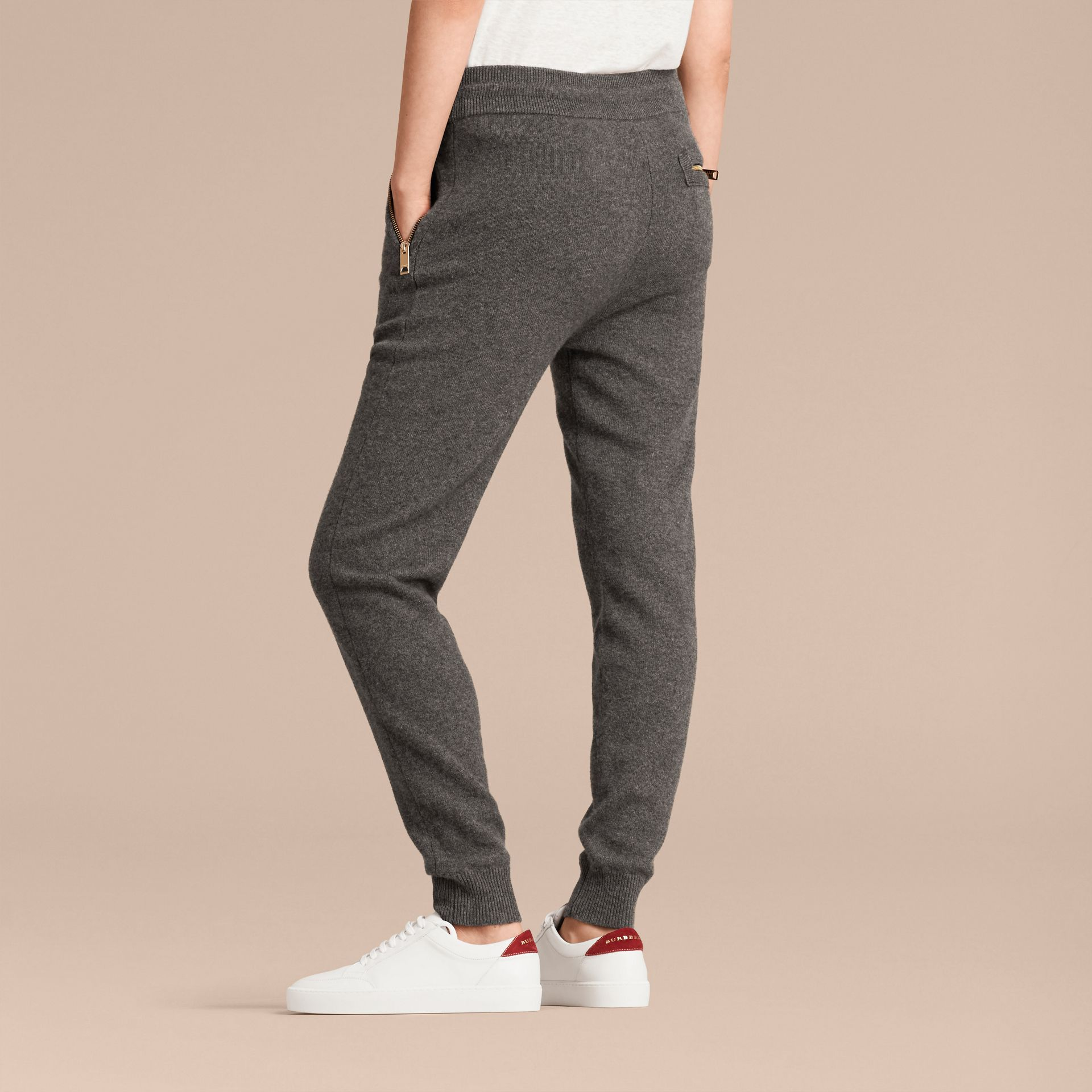 Dark grey melange Knitted Cashmere Cotton Joggers - gallery image 3