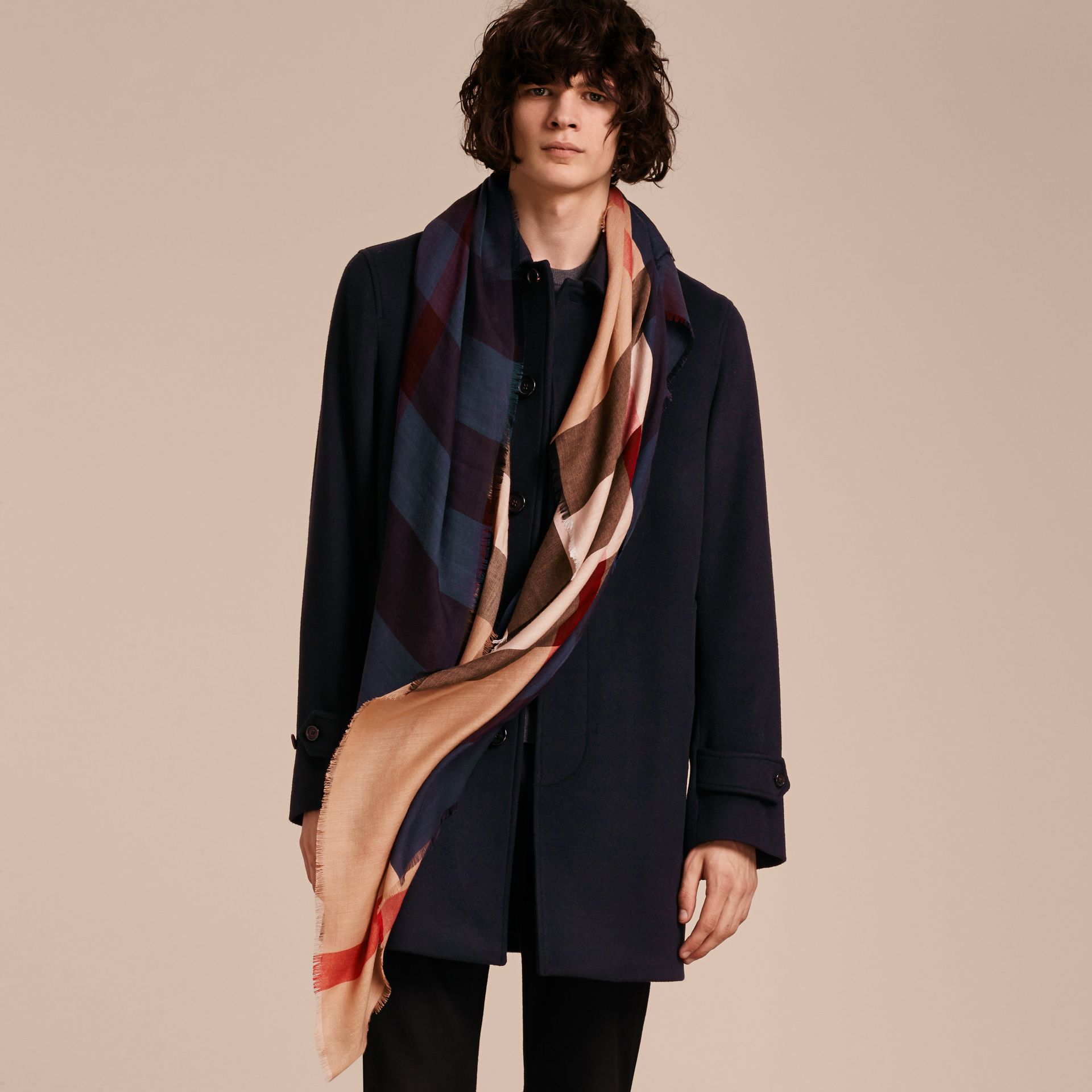 Lightweight Silk Wool Blend Check Square Scarf Bright Navy - gallery image 3