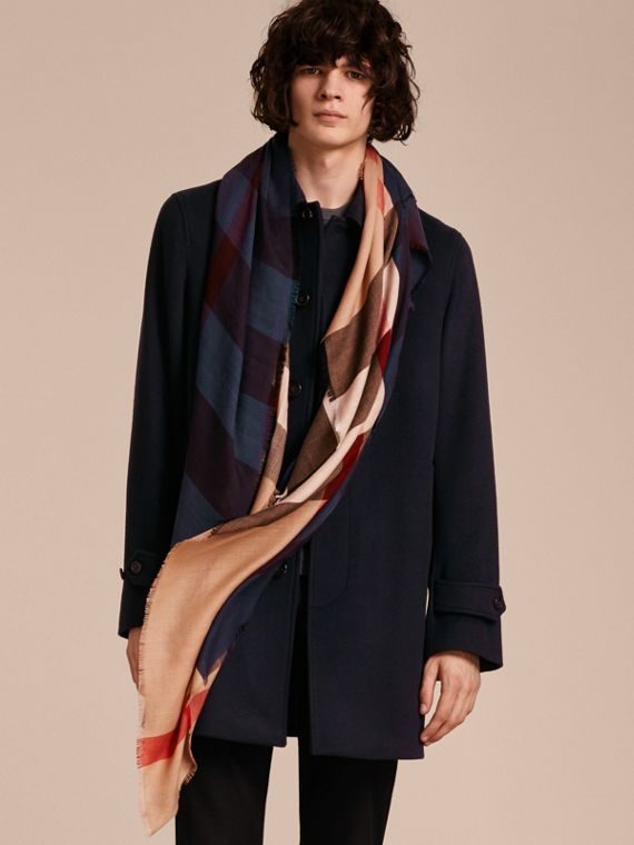 Lightweight Silk Wool Blend Check Square Scarf Bright Navy - cell image 2