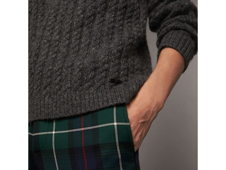 Cashmere Blend Cricket Sweater in Charcoal - Men | Burberry Australia - cell image 1
