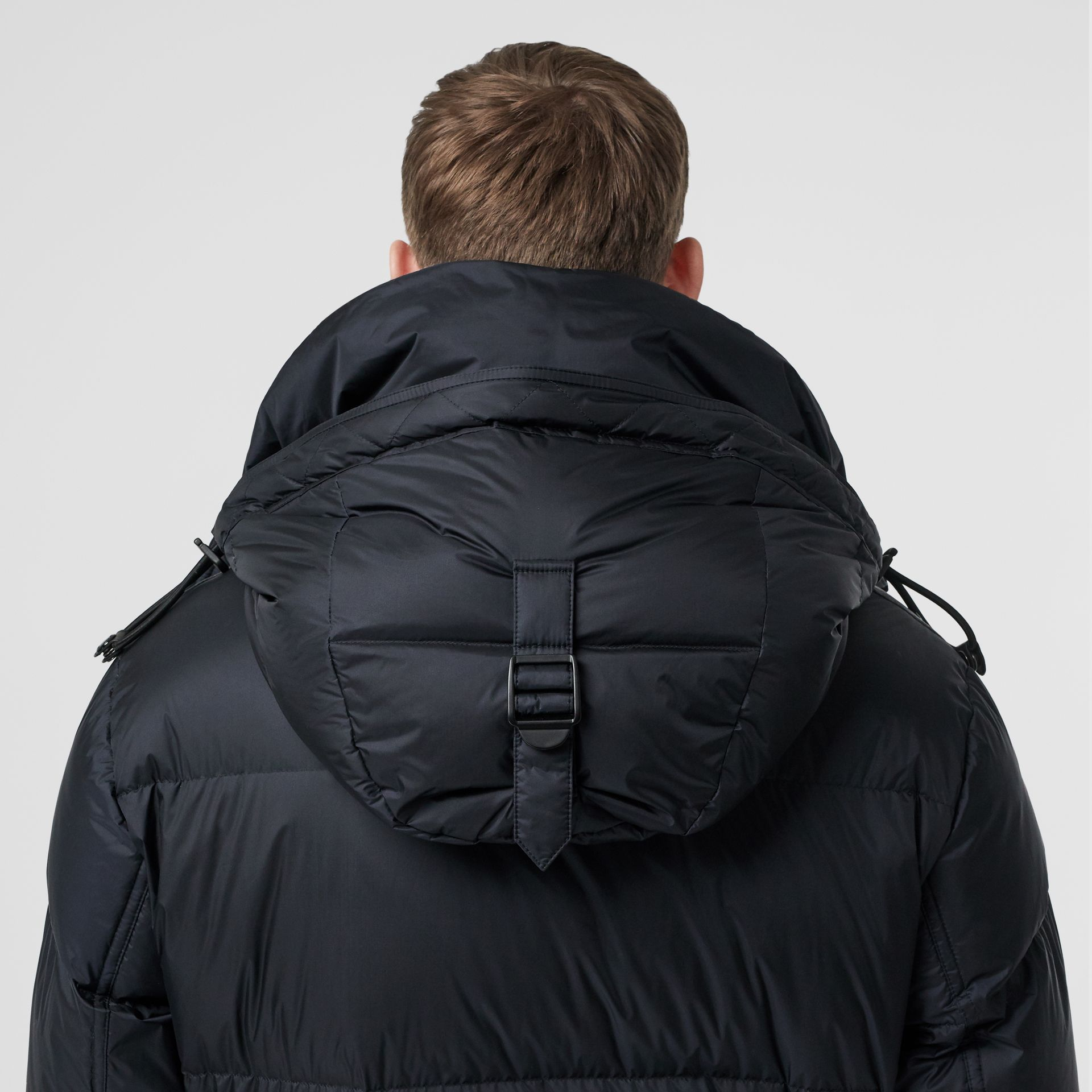 Logo Detail Hooded Puffer Coat in Navy - Men | Burberry - gallery image 4