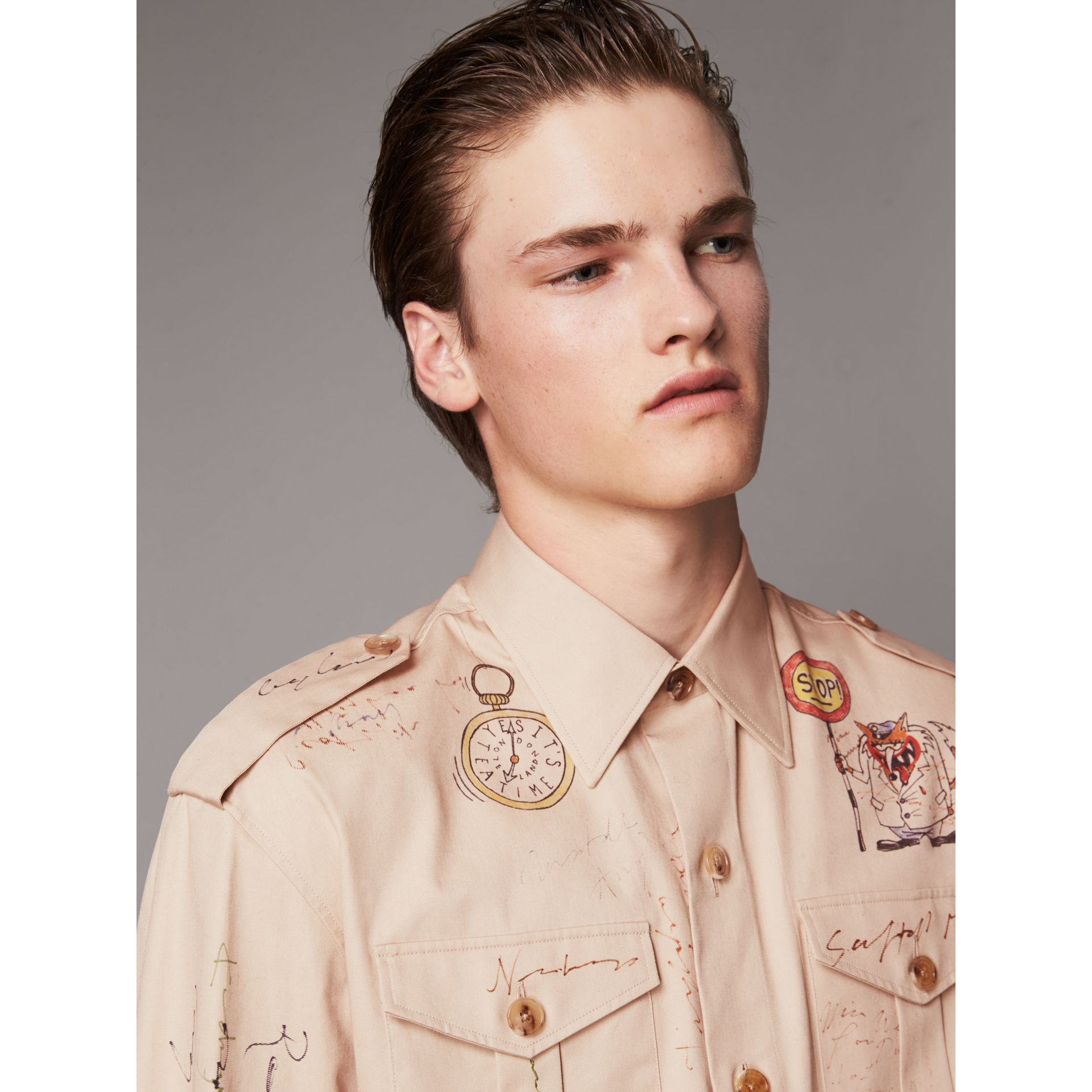 Sketch Print Cotton Army Shirt in Sand - Men | Burberry United Kingdom - gallery image 1
