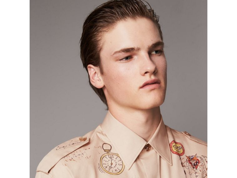 Sketch Print Cotton Army Shirt in Sand - Men | Burberry - cell image 1
