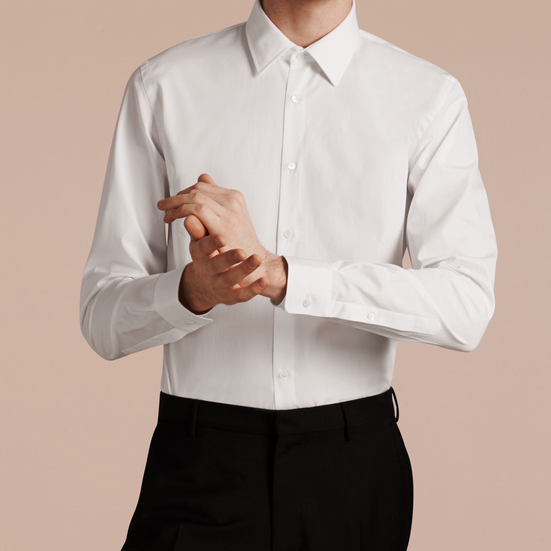 Slim Fit Cotton Poplin Shirt in White - gallery image 5