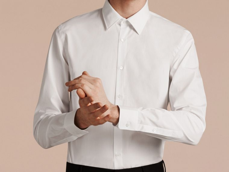Slim Fit Cotton Poplin Shirt in White - Men | Burberry Hong Kong - cell image 4
