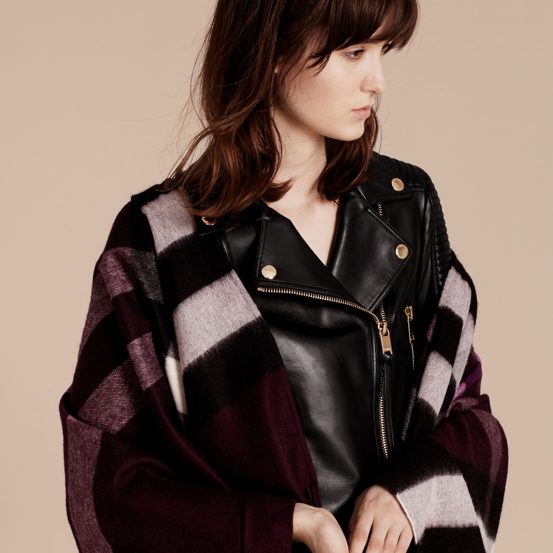 Check Cashmere and Wool Poncho Aubergine - gallery image 8