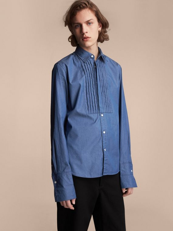 Unisex Double-cuff Pintuck Bib Cotton Shirt in Denim Blue - Men | Burberry Hong Kong