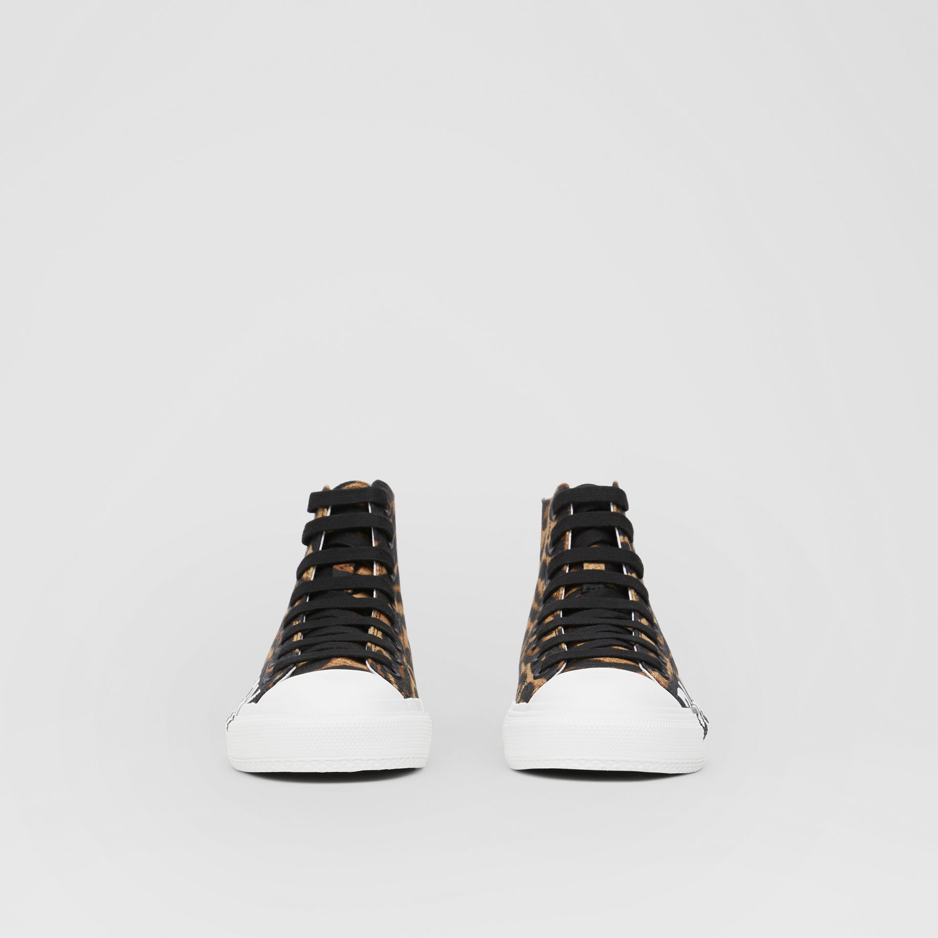 Logo Detail Leopard Print High-top Sneakers in Brown - Women | Burberry - gallery image 3
