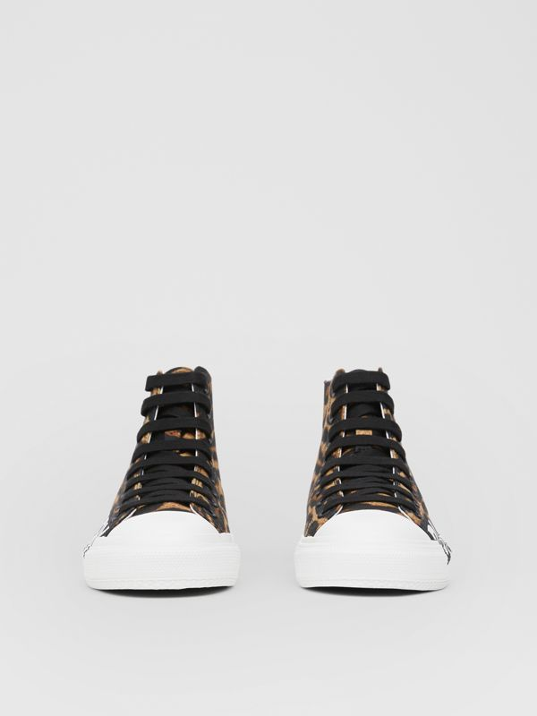 Logo Detail Leopard Print High-top Sneakers in Brown - Women | Burberry - cell image 3