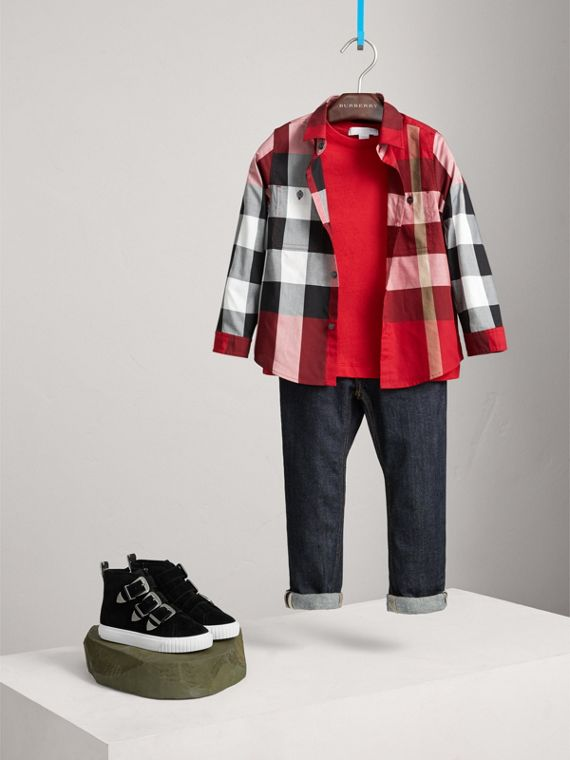 Check Cotton Shirt in Parade Red | Burberry Canada - cell image 2
