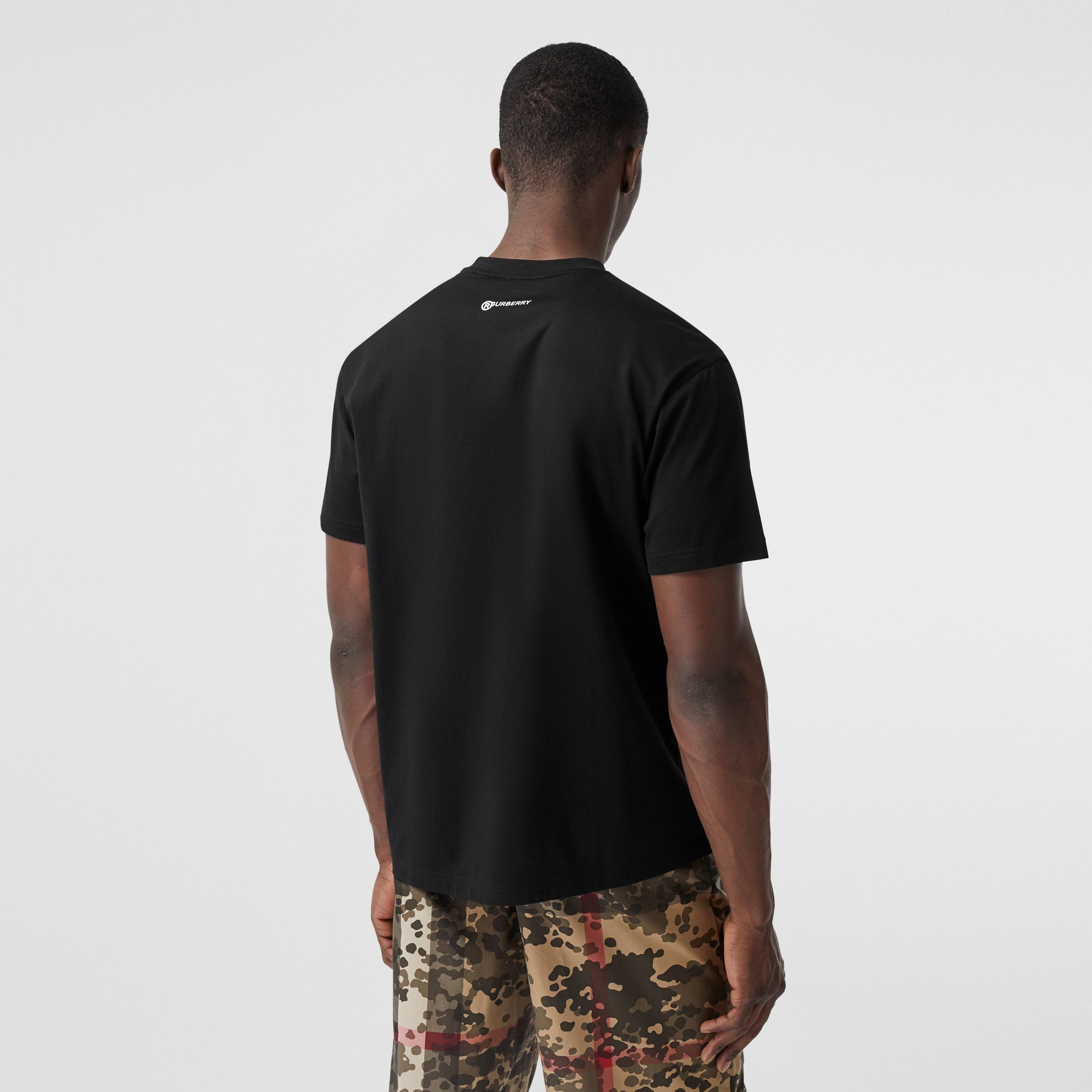 Globe Graphic Cotton Oversized T-shirt in Black | Burberry United States - 3