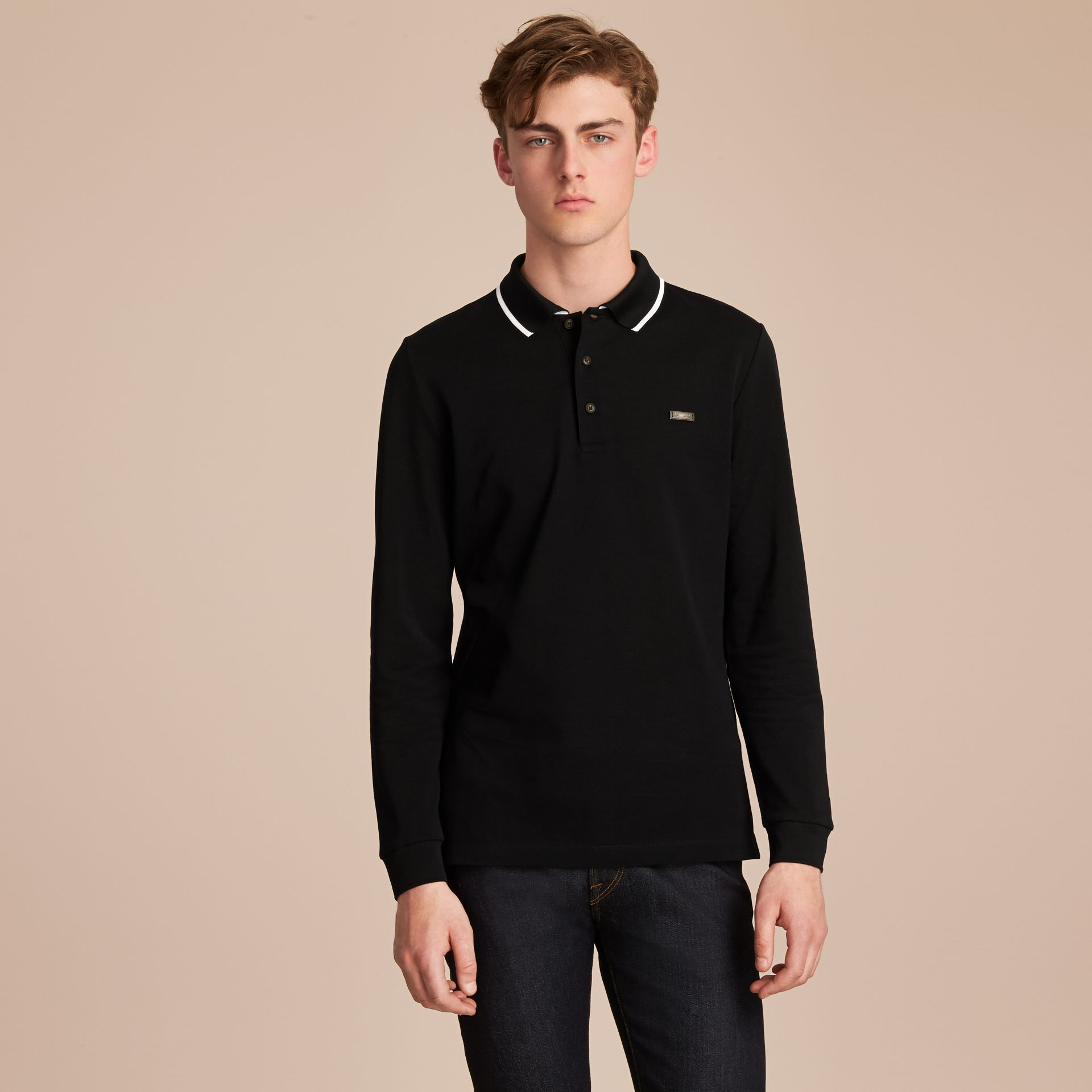 Long-sleeved Tipped Cotton Piqué Polo Shirt Black - gallery image 6