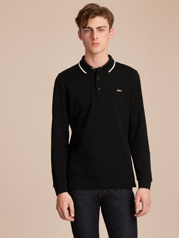Long-sleeved Tipped Cotton Piqué Polo Shirt Black