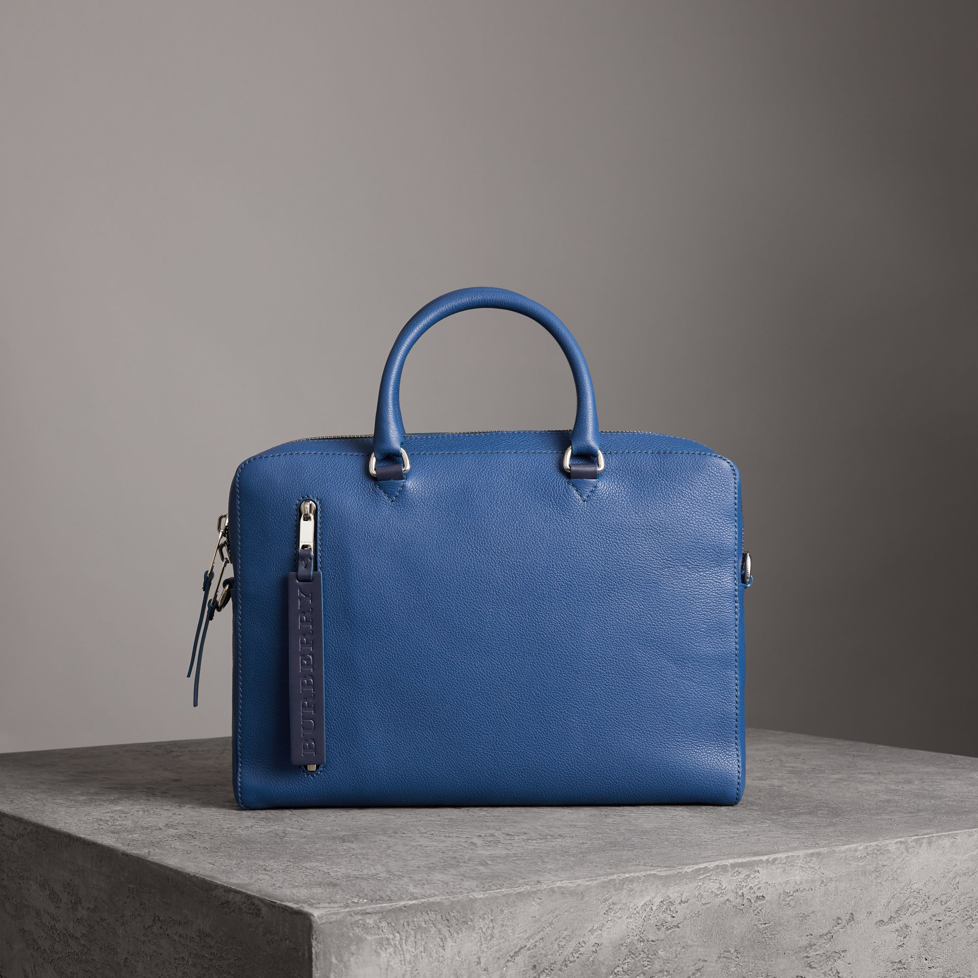 Grainy Leather Briefcase in Bright Ultramarine - Men | Burberry United States - gallery image 0