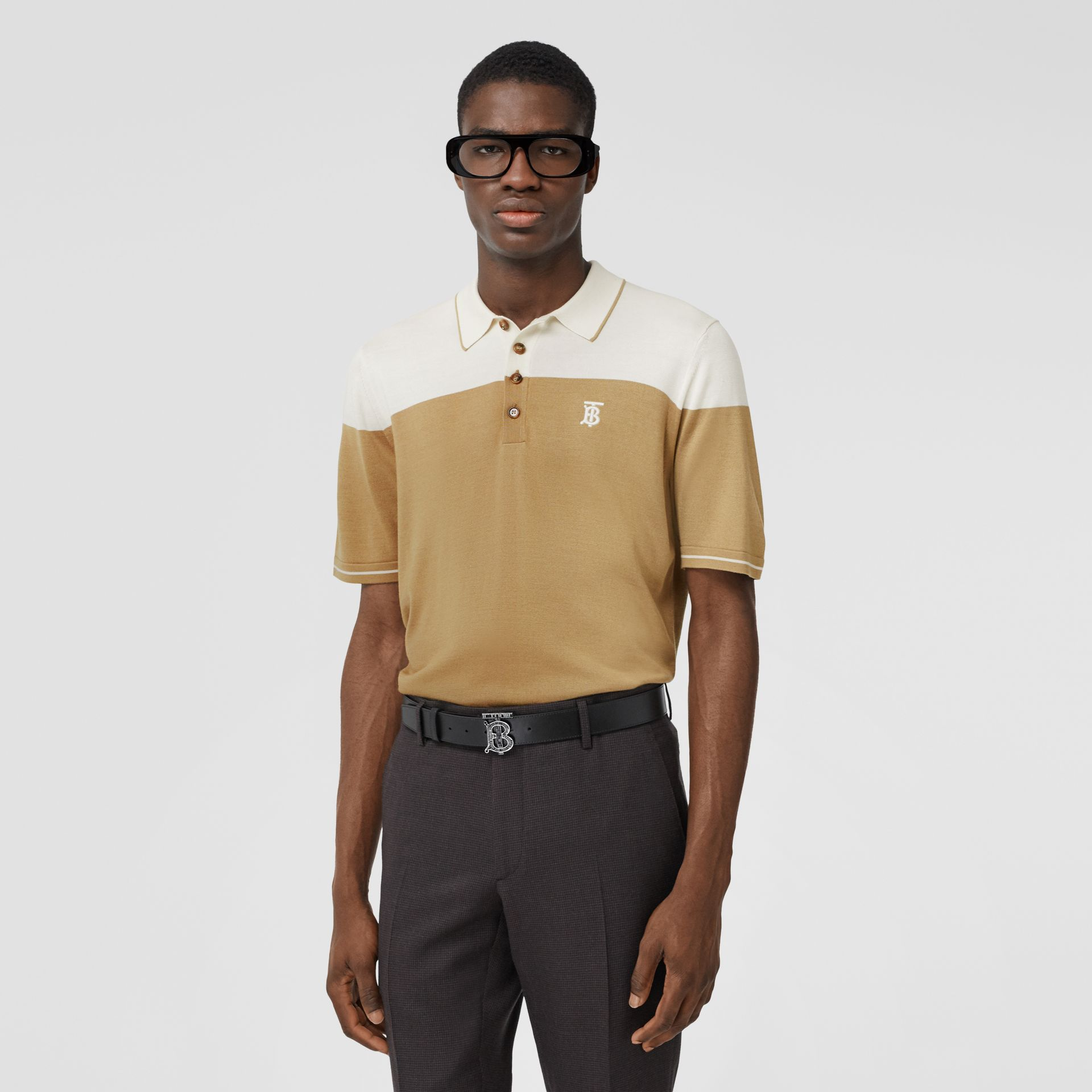 Monogram Motif Two-tone Silk Cashmere Polo Shirt in Archive Beige - Men | Burberry - gallery image 0