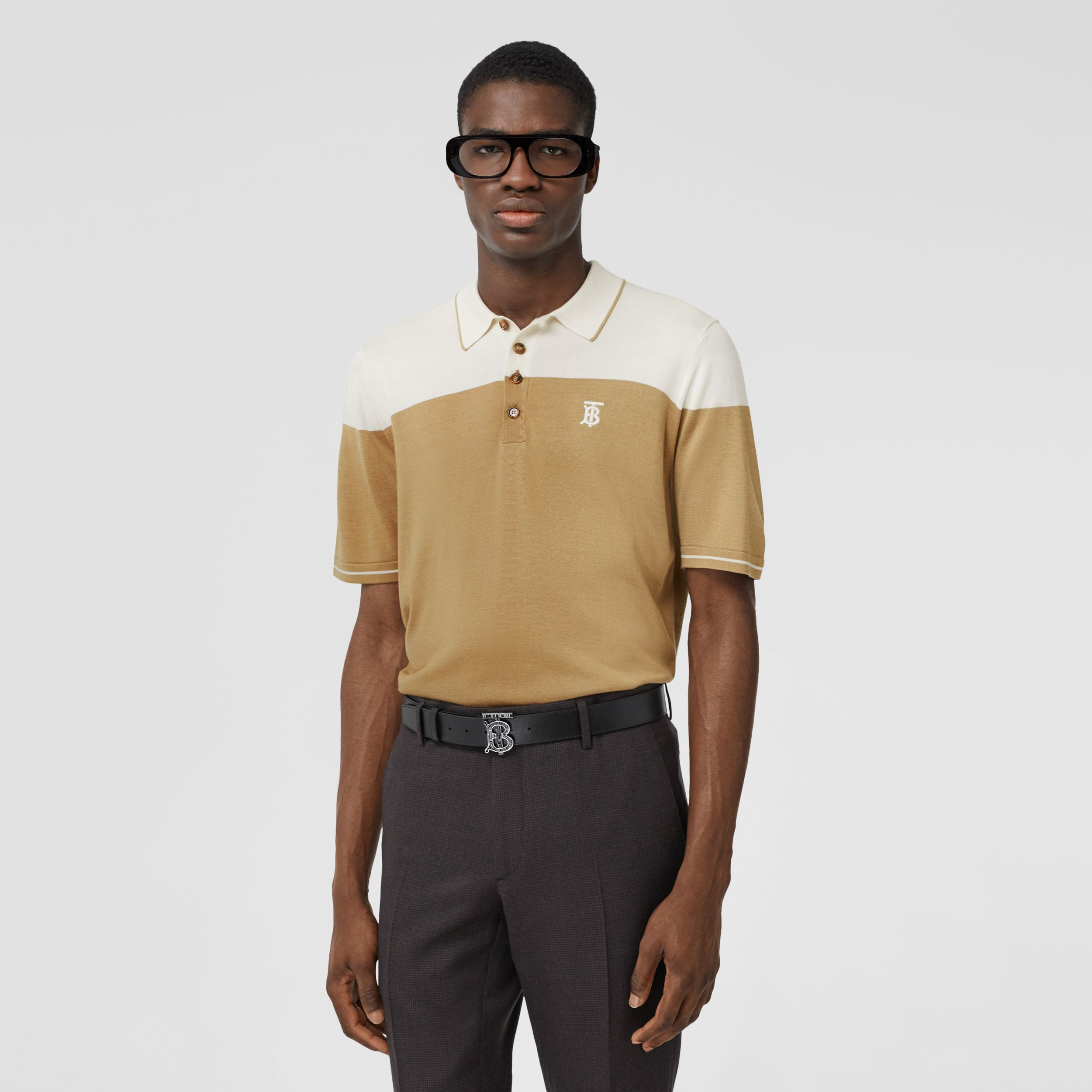 Monogram Motif Two-tone Silk Cashmere Polo Shirt in Archive Beige - Men | Burberry - 1