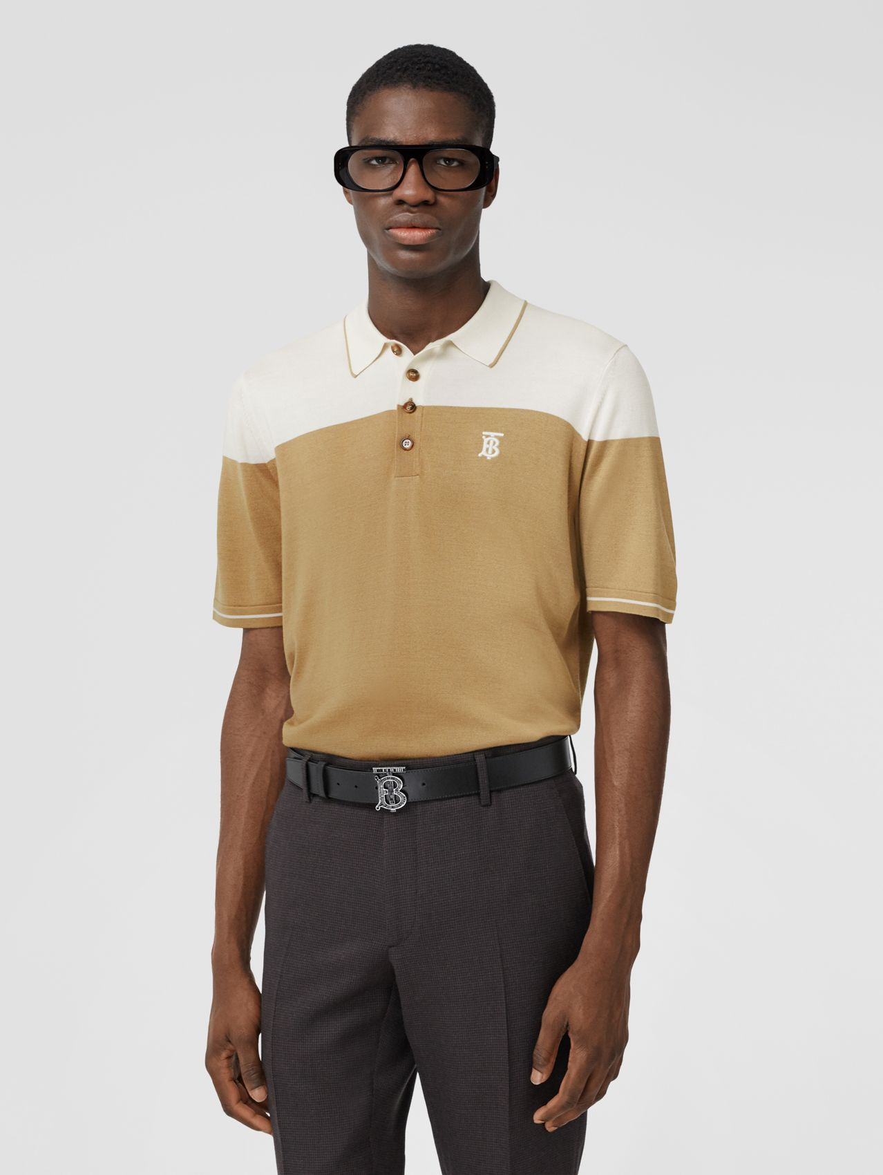 Monogram Motif Two-tone Silk Cashmere Polo Shirt in Archive Beige