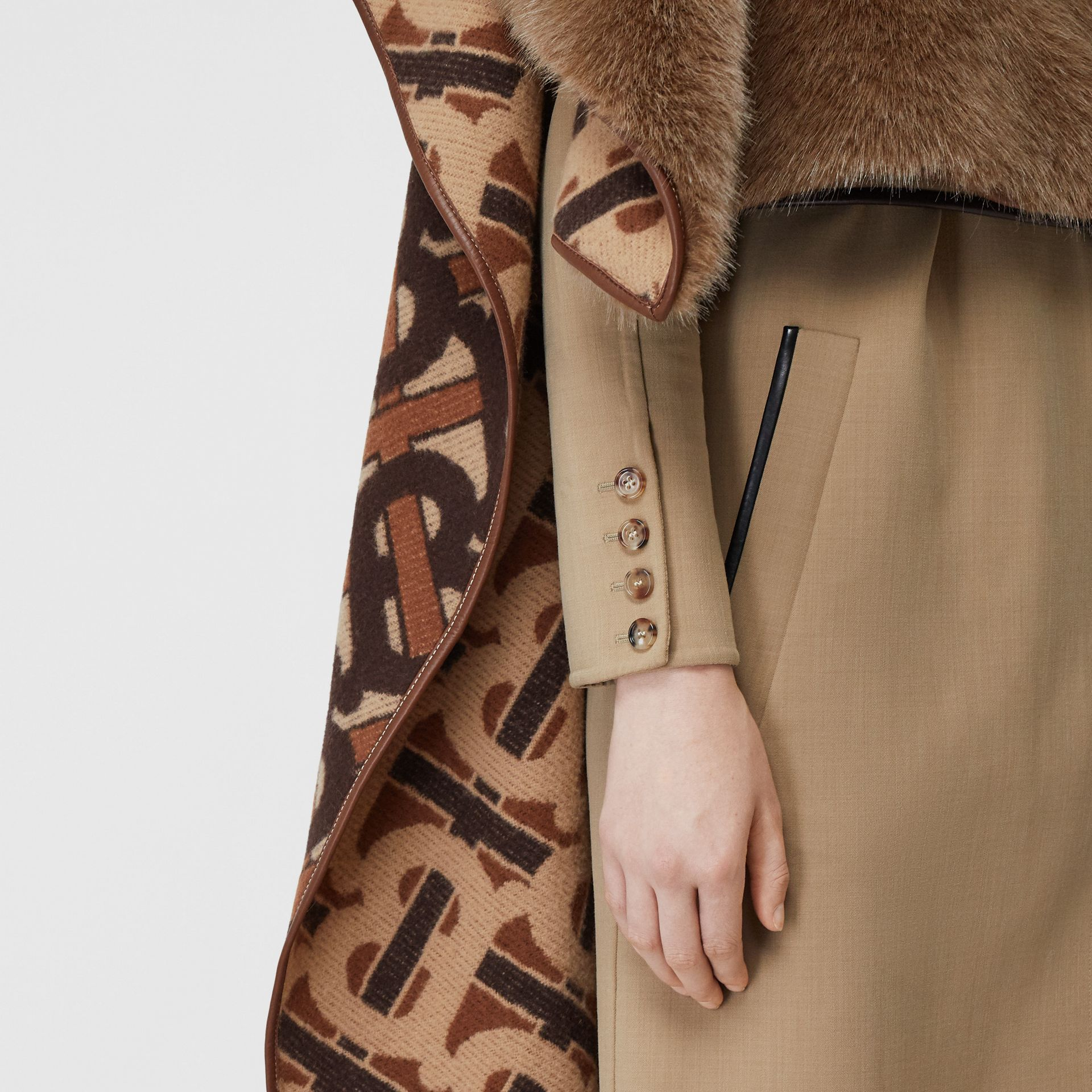 Faux Fur Detail Monogram Merino Wool Blend Cape in Dark Chestnut Brown - Women | Burberry United States - gallery image 4
