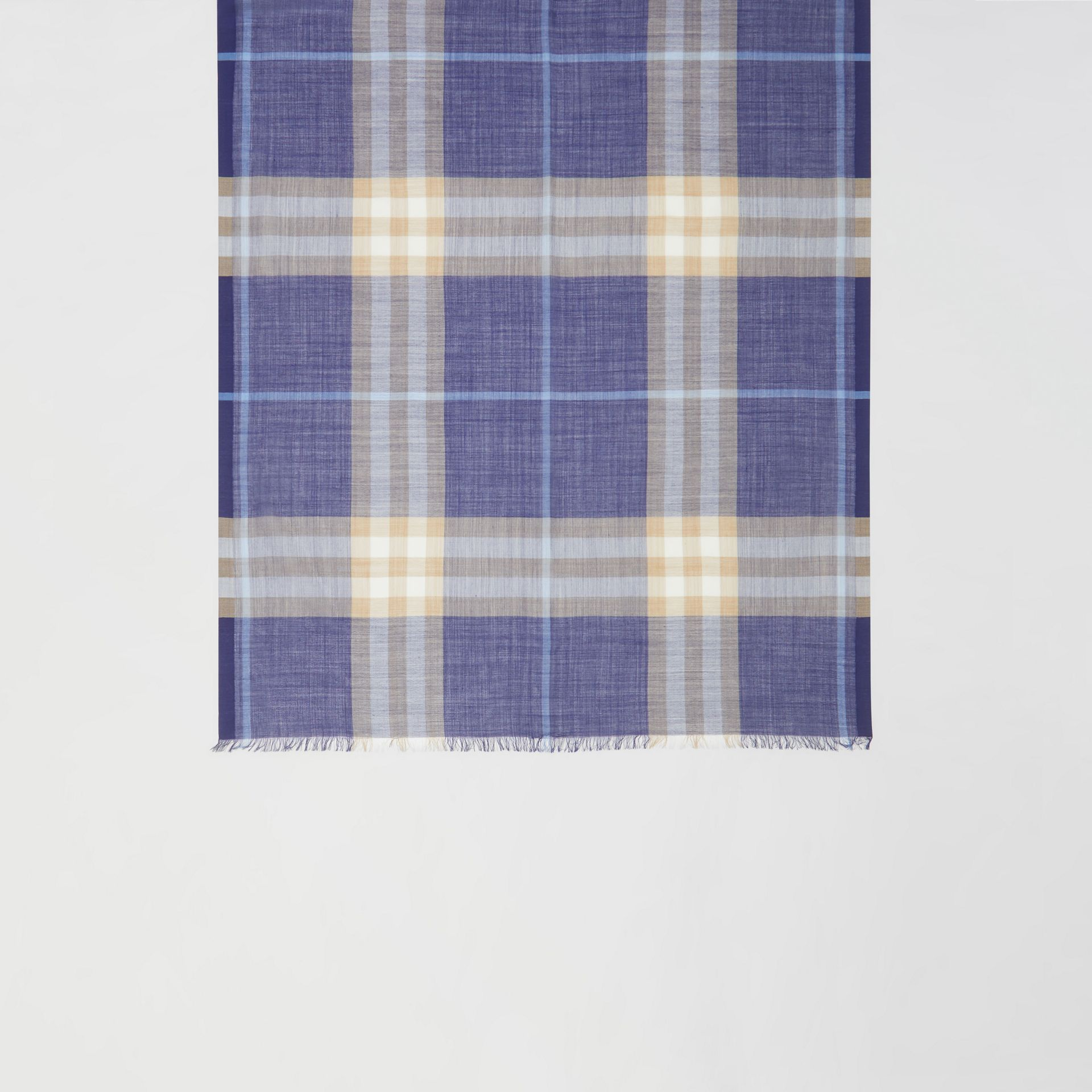 Lightweight Check Wool Silk Scarf in Inky Blue | Burberry - gallery image 4