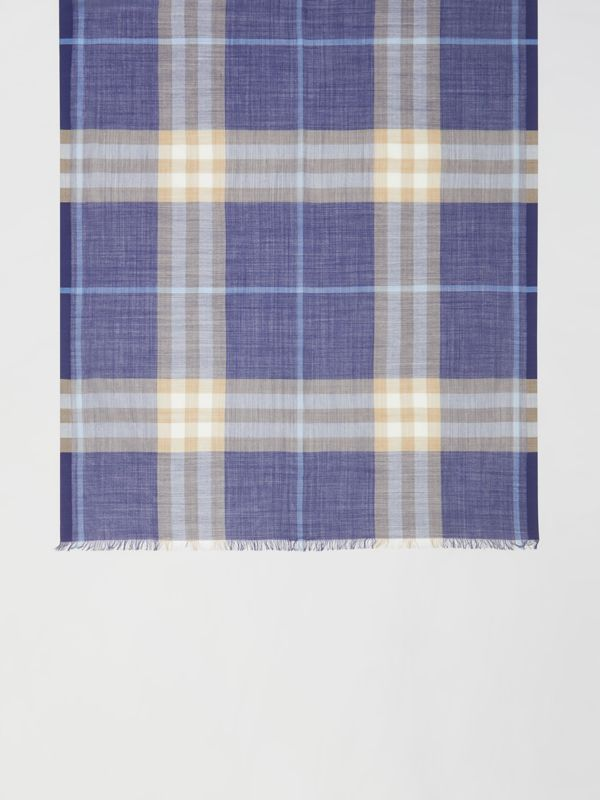 Lightweight Check Wool Silk Scarf in Inky Blue | Burberry - cell image 2