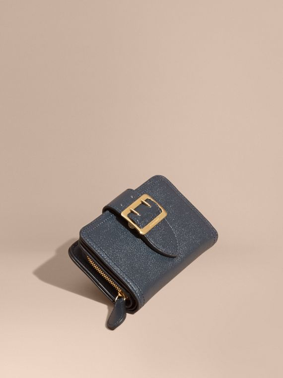 Buckle Detail Grainy Leather Wallet in Blue Carbon