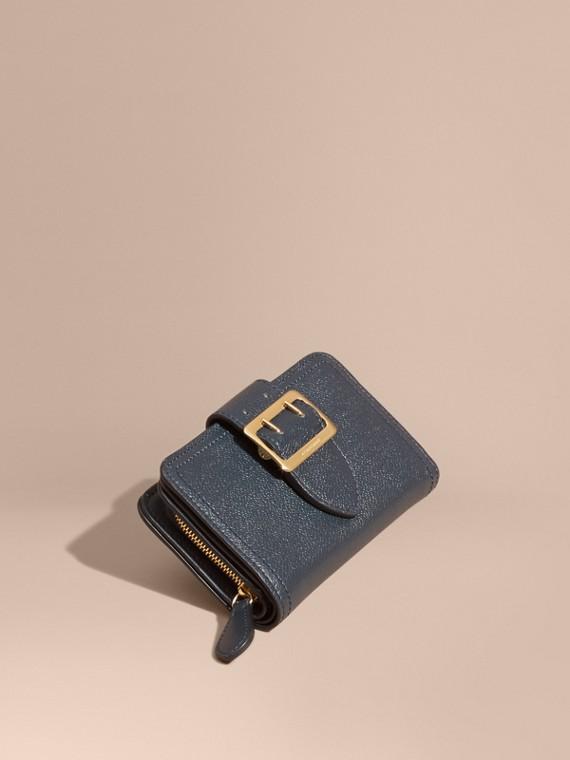 Buckle Detail Grainy Leather Wallet Blue Carbon