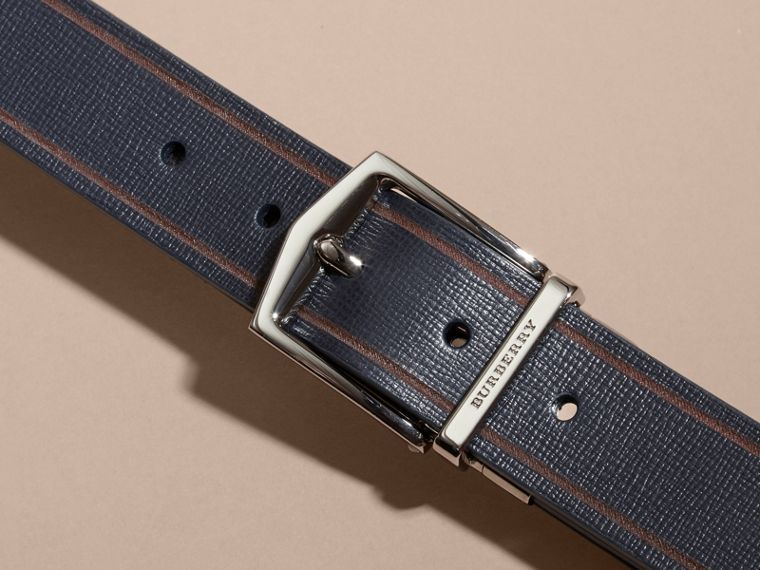 Reversible Border Detail London Leather Belt Dark Navy/black - cell image 1