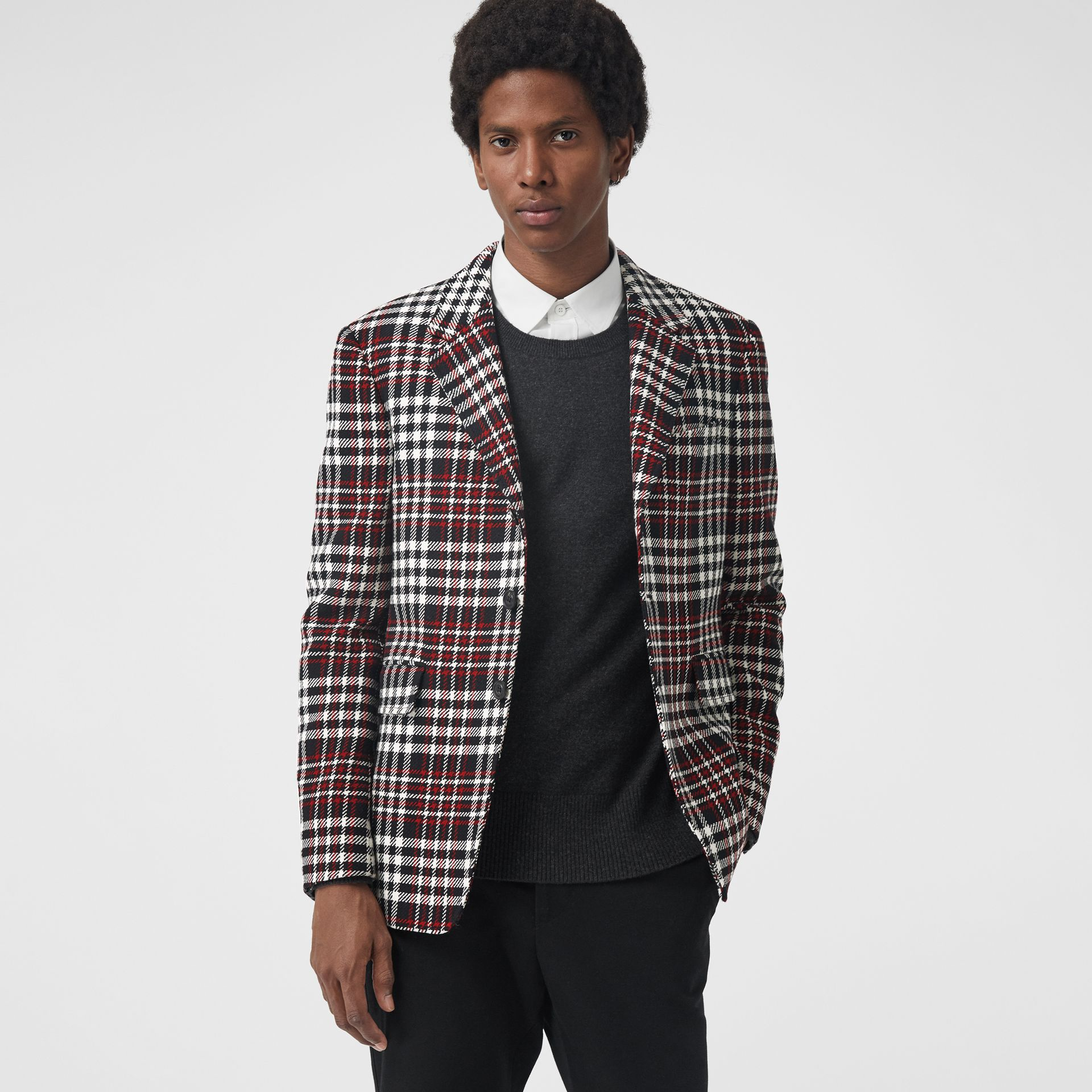 Slim Fit Tartan Technical Wool Tailored Jacket in Red - Men | Burberry Canada - gallery image 4