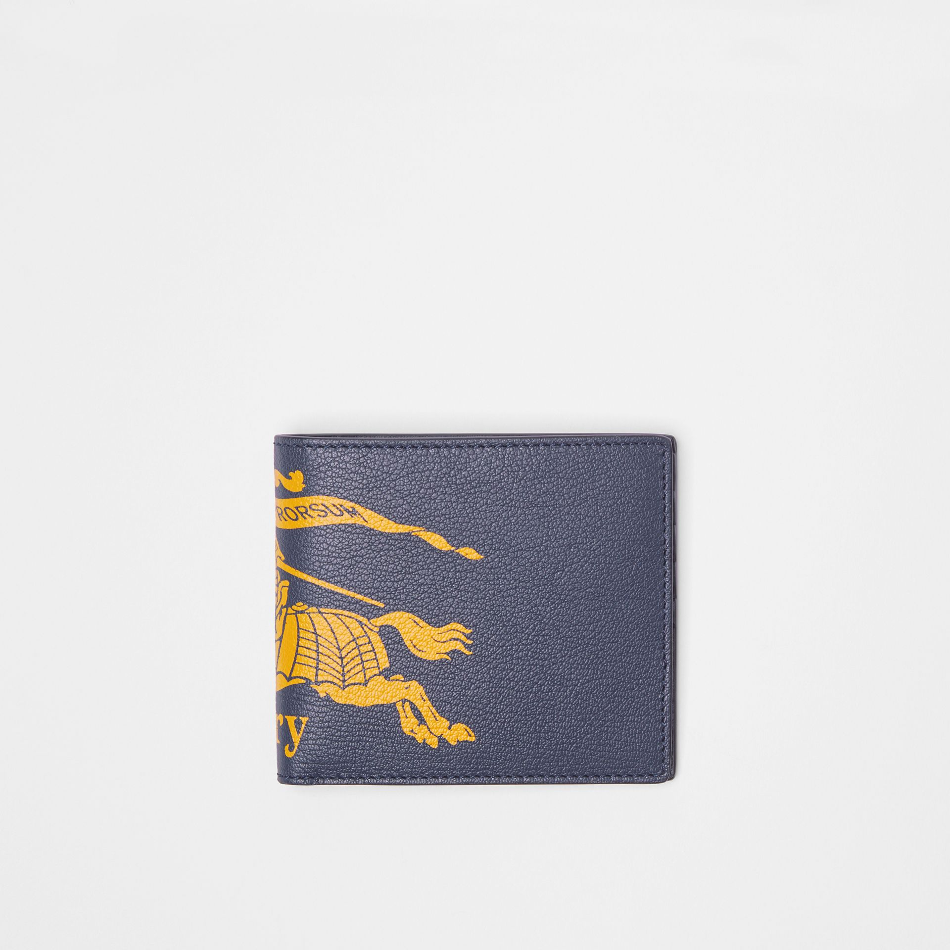 Contrast Logo Leather International Bifold Wallet in Storm Blue - Men | Burberry United States - gallery image 0