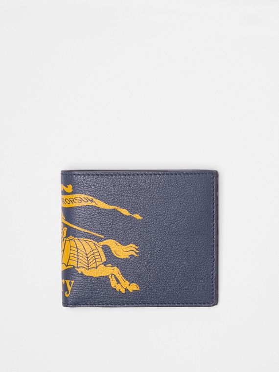 Contrast Logo Leather International Bifold Wallet in Storm Blue