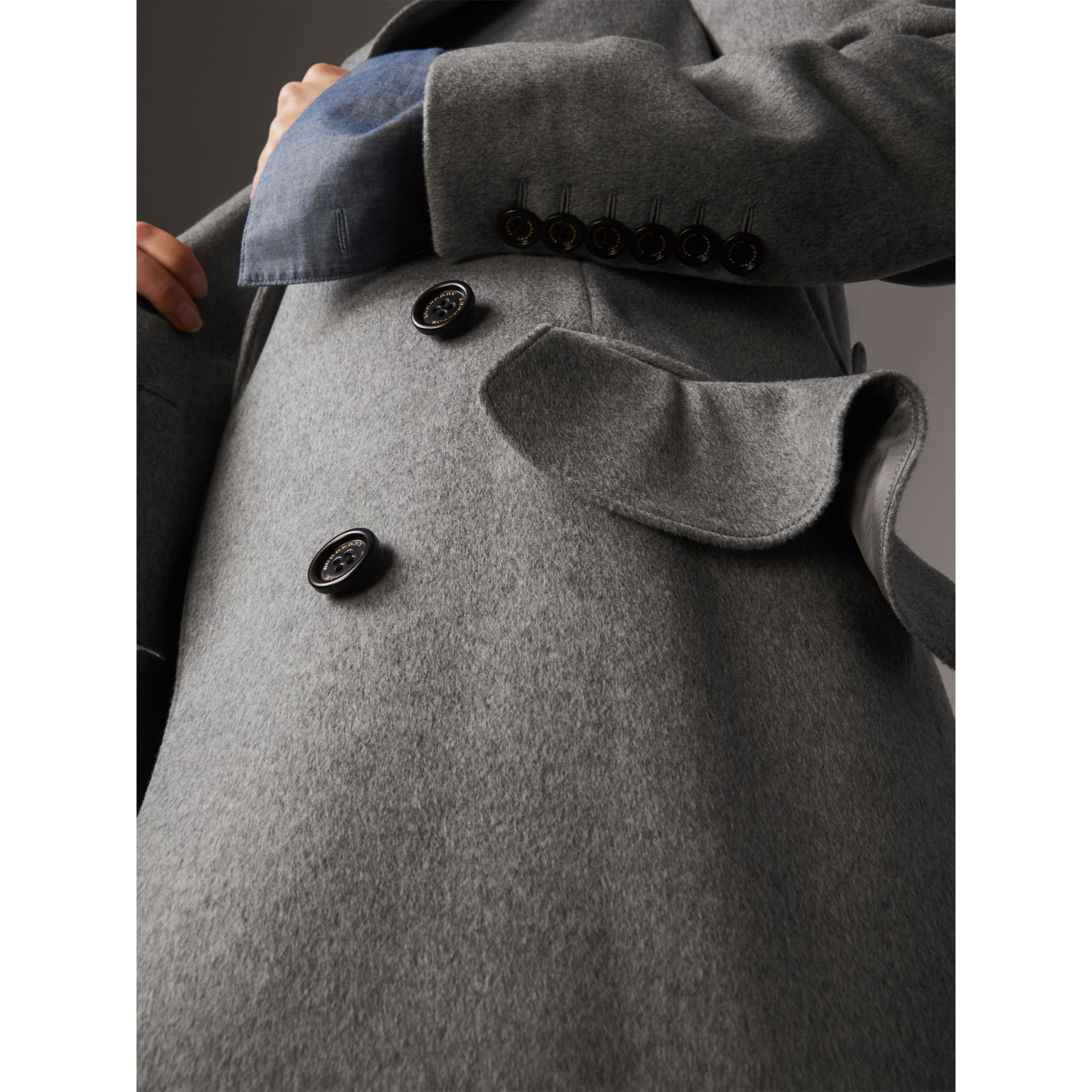Ruffle Detail Wool Cashmere Tailored Coat in Pale Grey Melange - Women | Burberry - gallery image 2