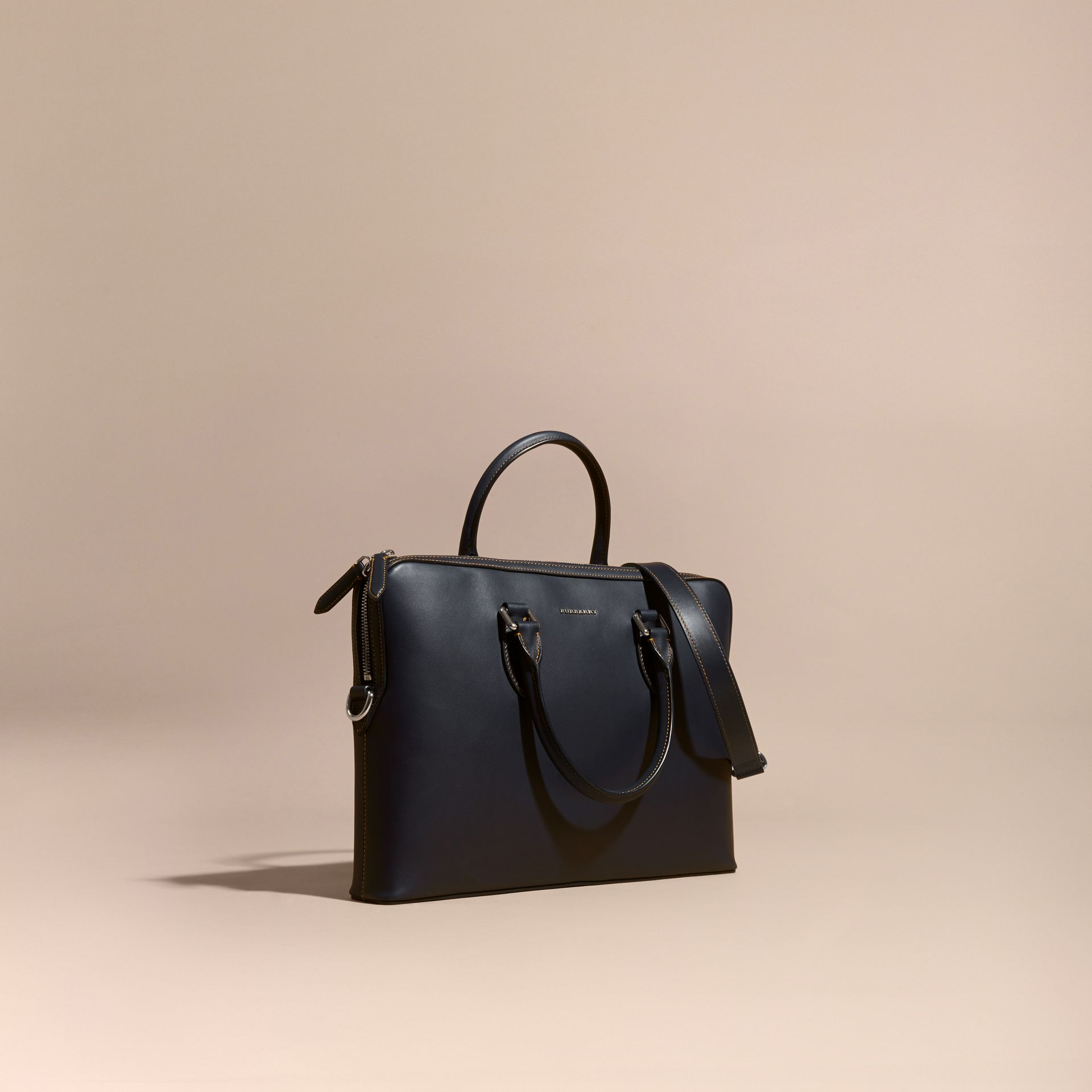 Dark navy The Slim Barrow in Smooth Leather - gallery image 1