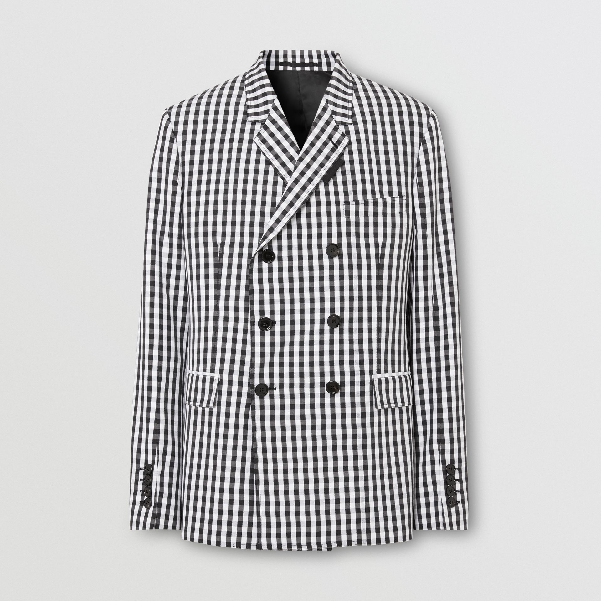 Classic Fit Gingham Technical Wool Blazer in Black | Burberry - gallery image 3