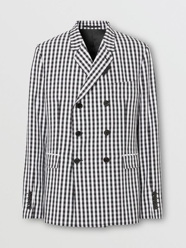 Classic Fit Gingham Technical Wool Blazer in Black | Burberry - cell image 3