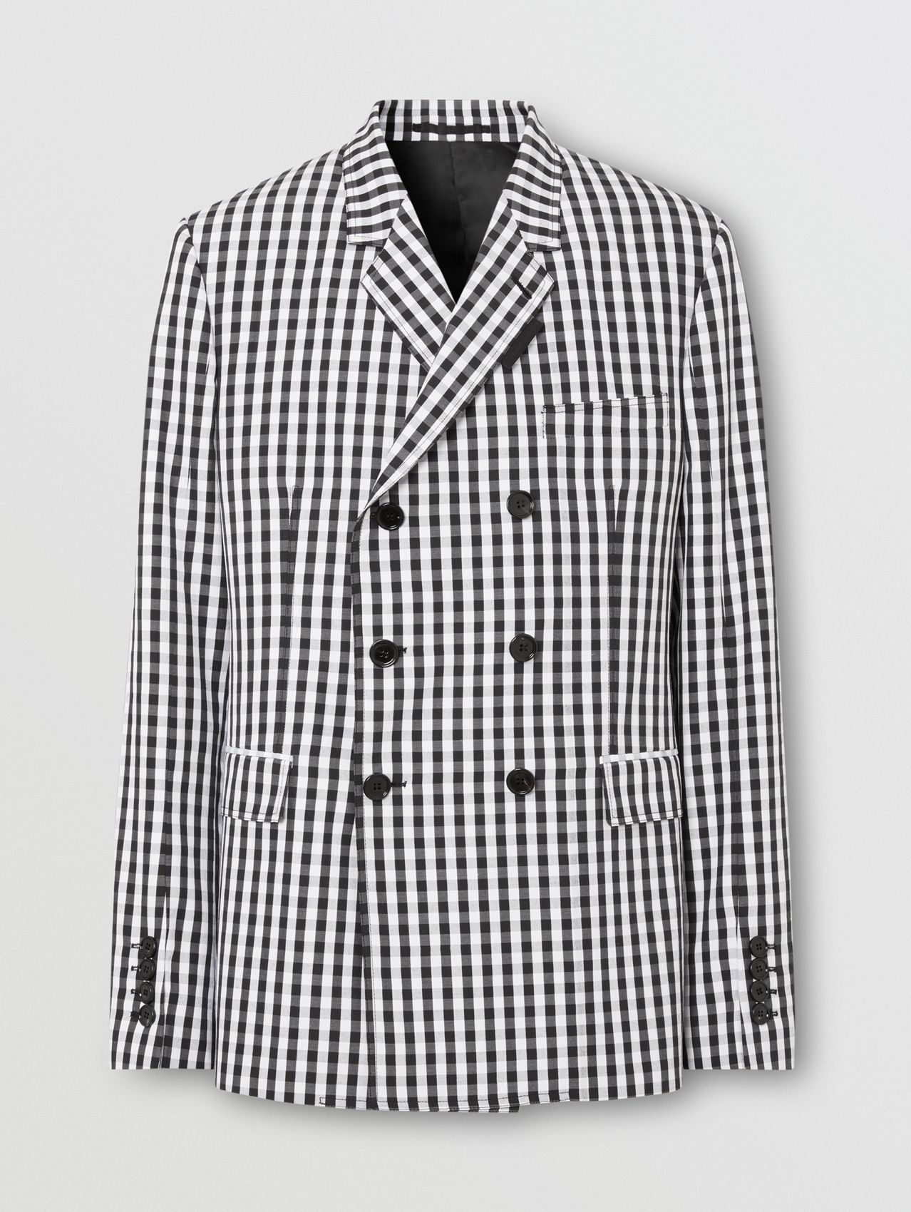 Classic Fit Gingham Technical Wool Blazer in Black