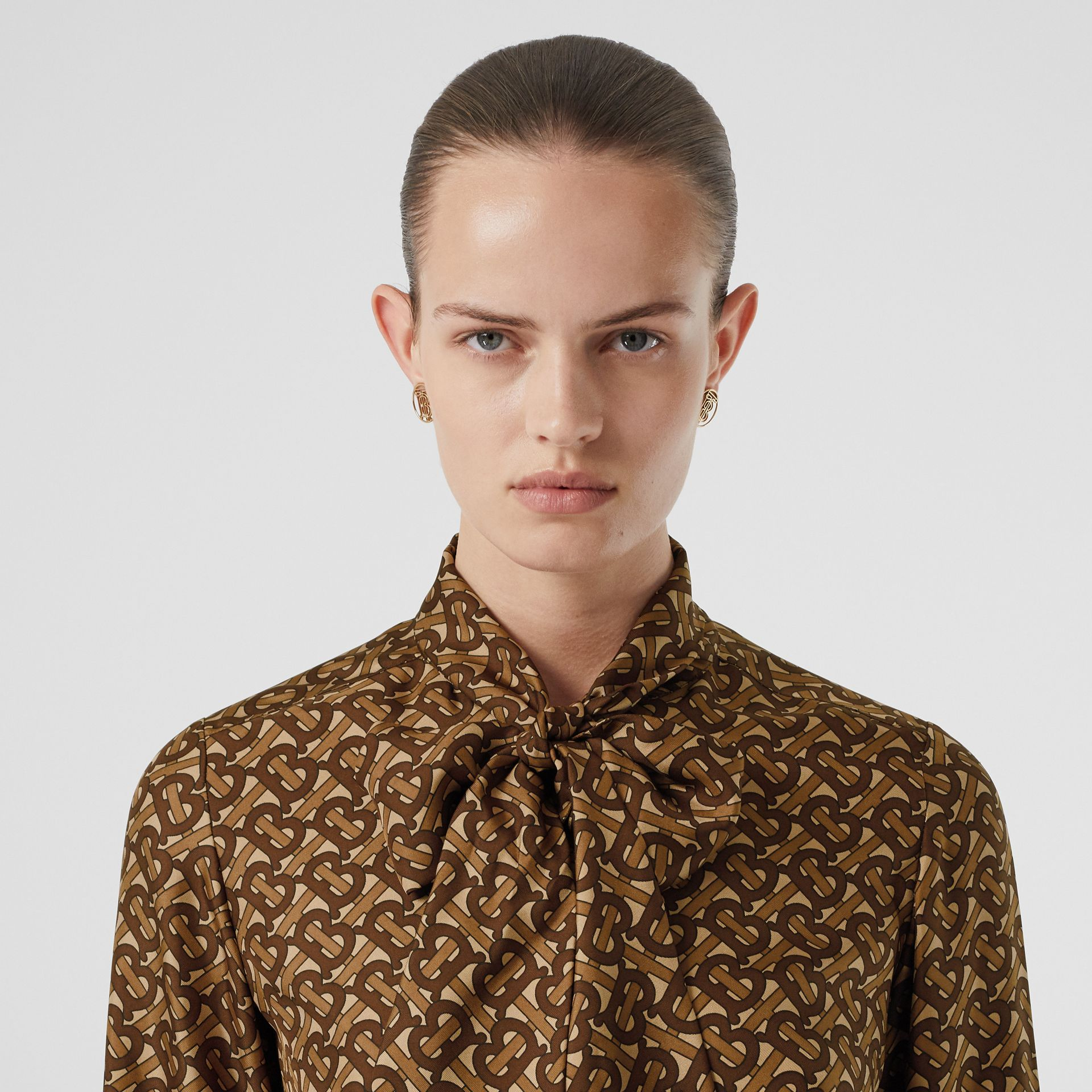 Monogram Print Silk Tie-neck Shirt in Bridle Brown - Women | Burberry - gallery image 1