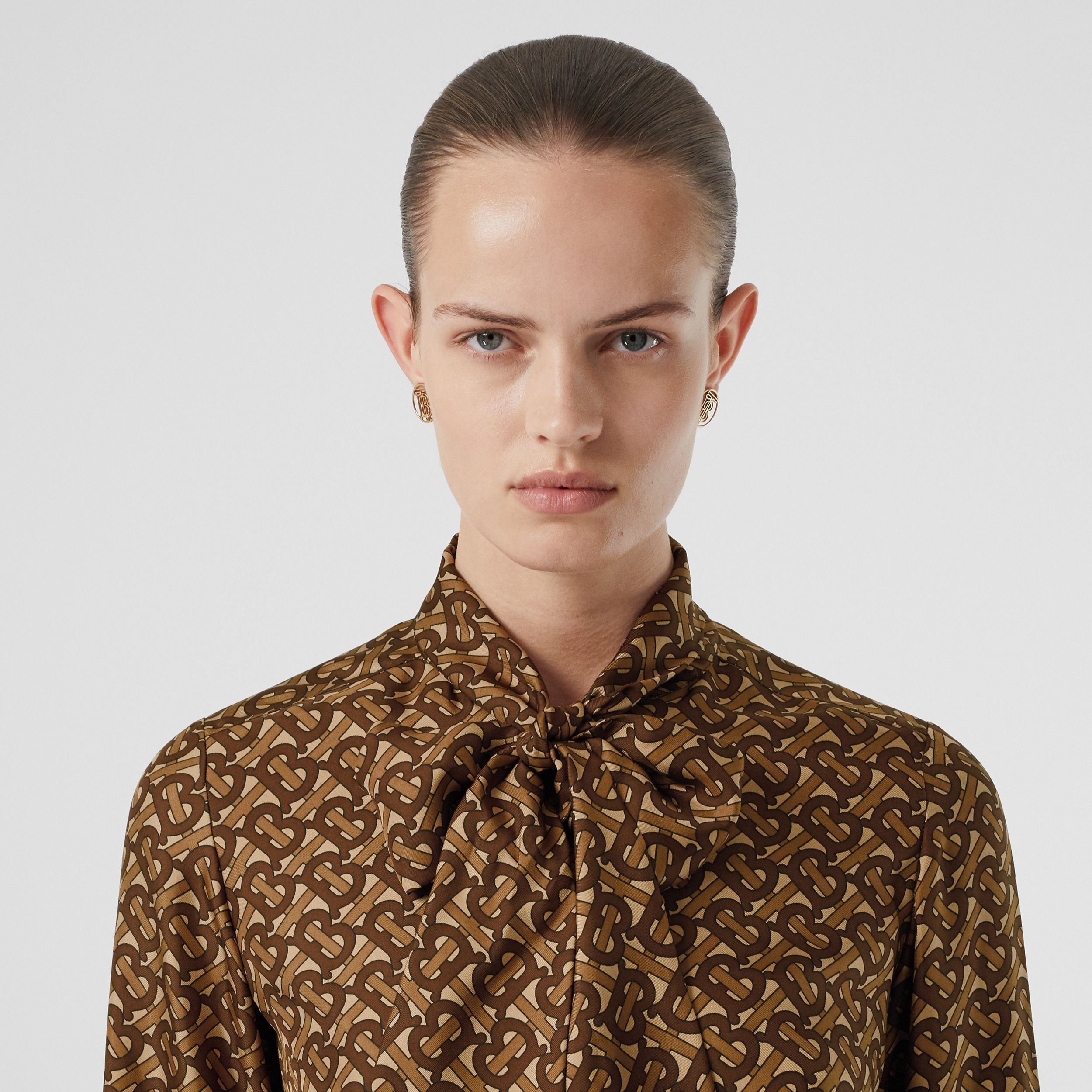 Monogram Print Silk Tie-neck Shirt in Bridle Brown - Women | Burberry - 2