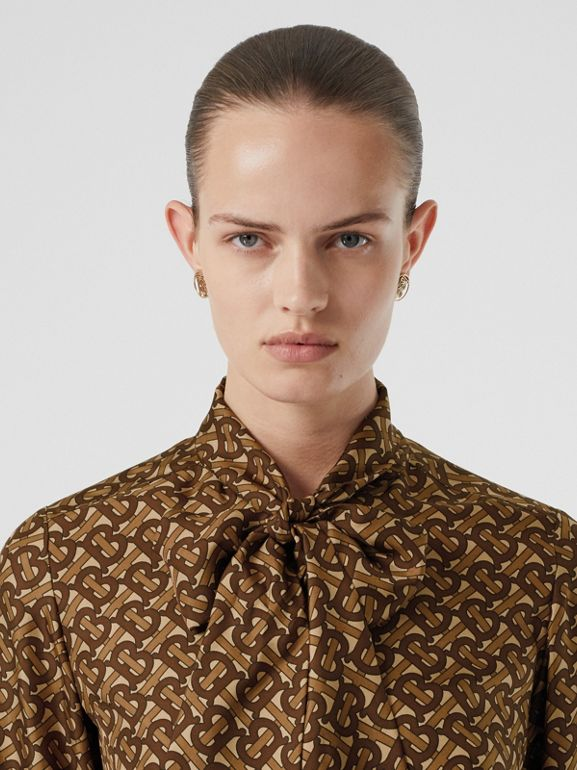 Monogram Print Silk Tie-neck Shirt in Bridle Brown - Women | Burberry - cell image 1