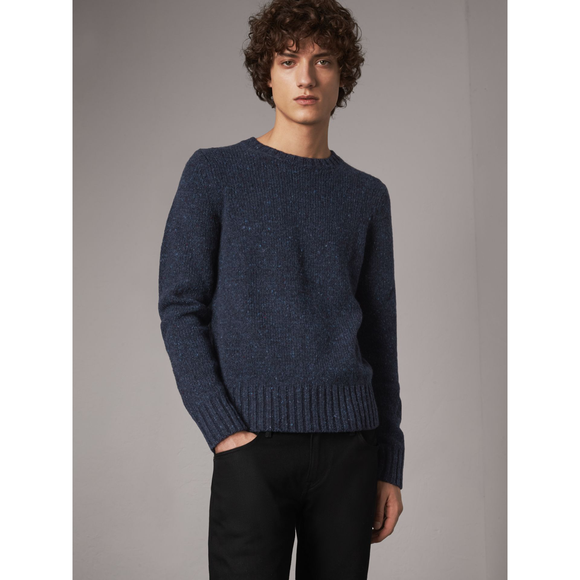 Flecked Wool Cashmere Mohair Sweater in Navy - Men | Burberry - gallery image 1