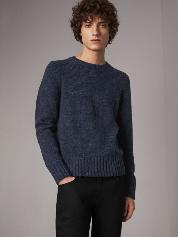 Flecked Wool Cashmere Mohair Sweater in Navy
