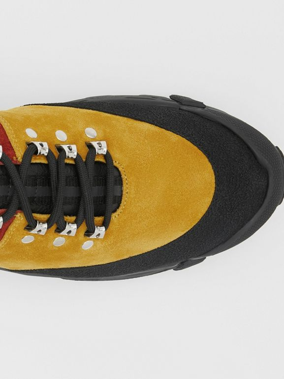 Suede and Leather Tor Boots in Yellow Orange - Men | Burberry United States - cell image 1