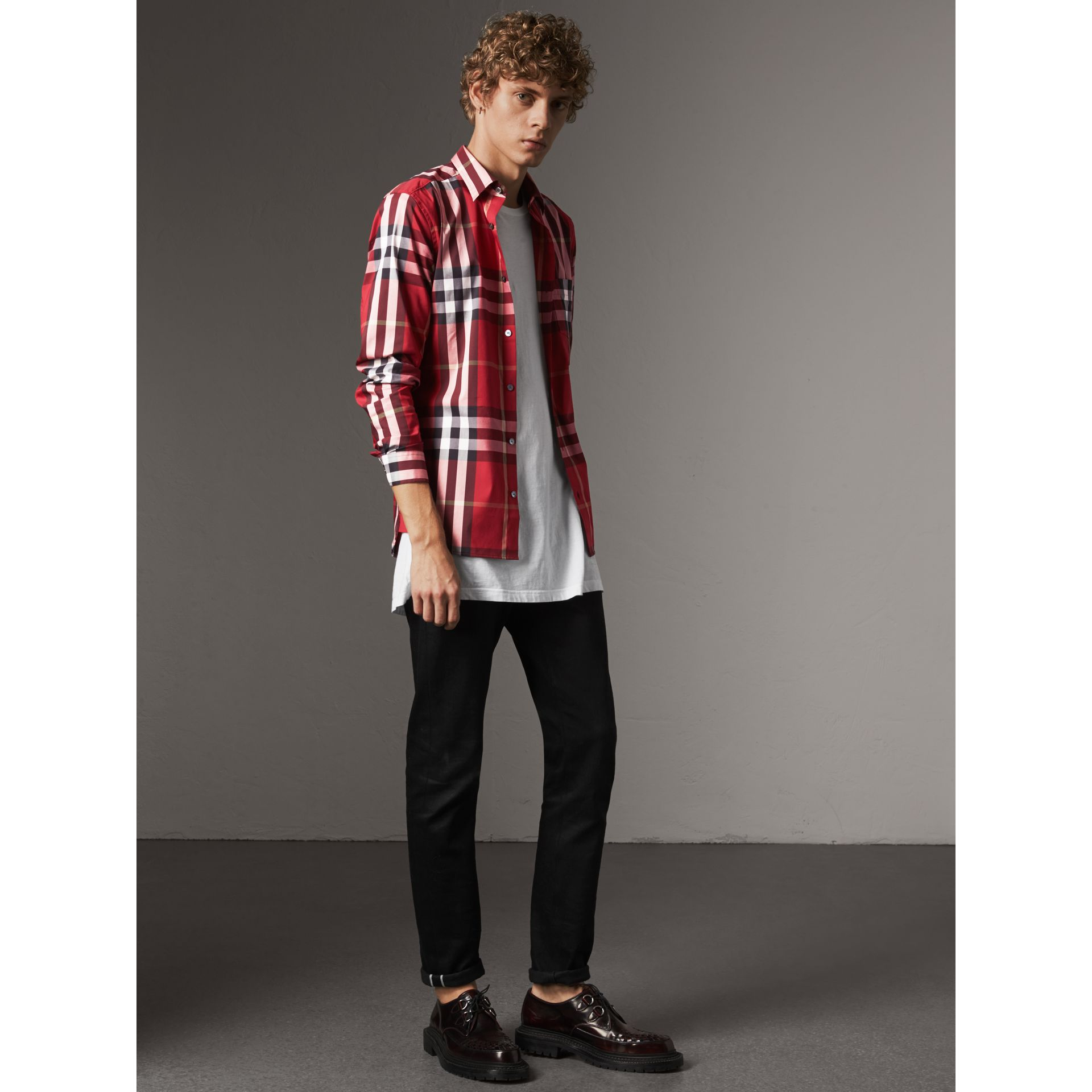 Check Stretch Cotton Shirt in Parade Red - Men | Burberry United States - gallery image 1