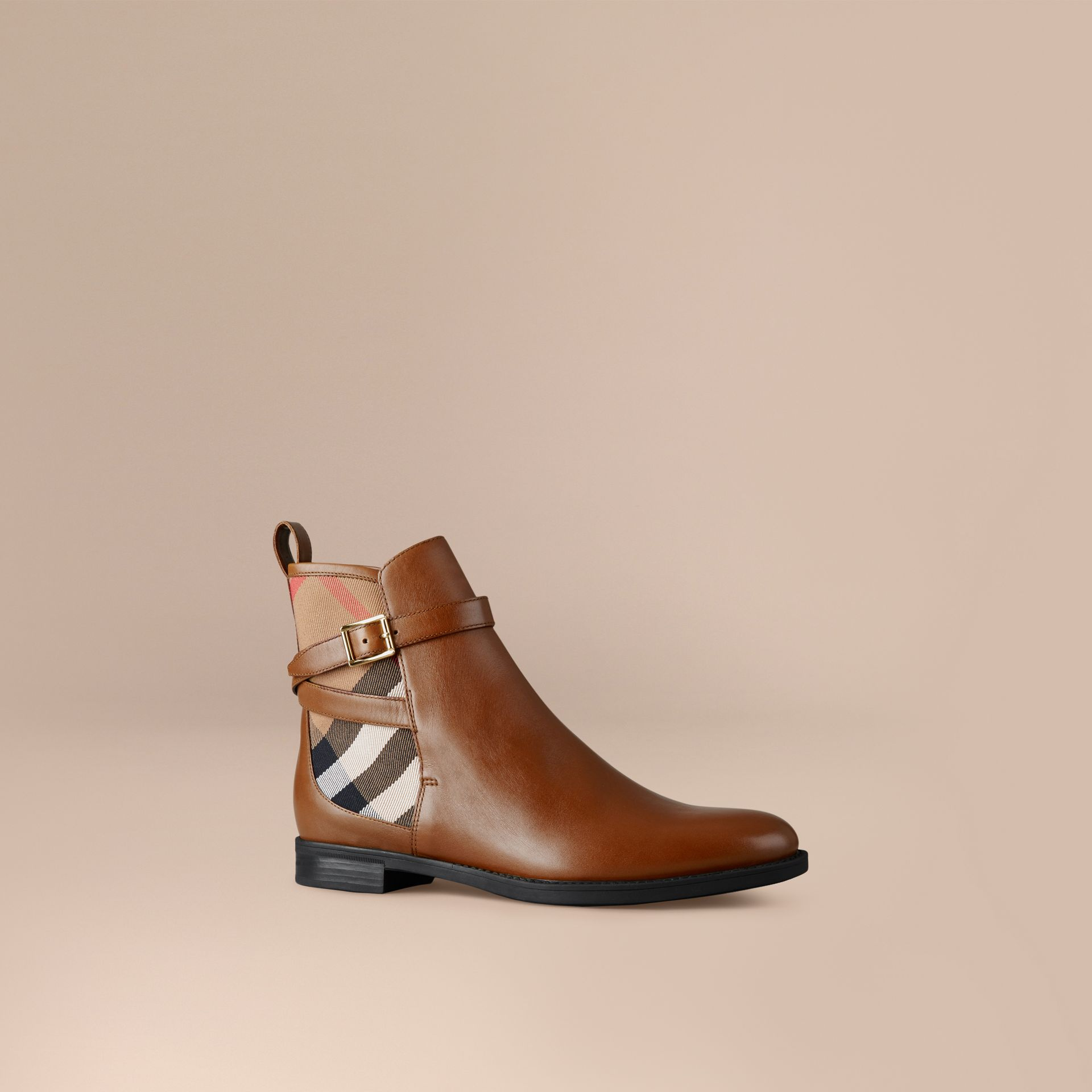 Chestnut House Check Leather Ankle Boots Chestnut - gallery image 1