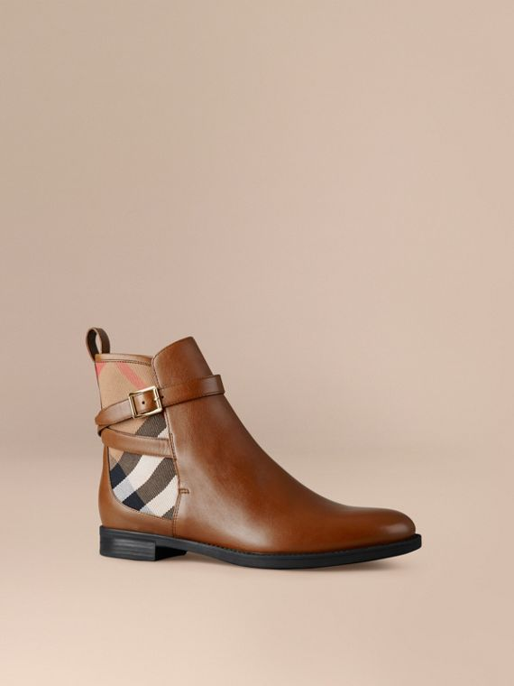 House Check Leather Ankle Boots Chestnut