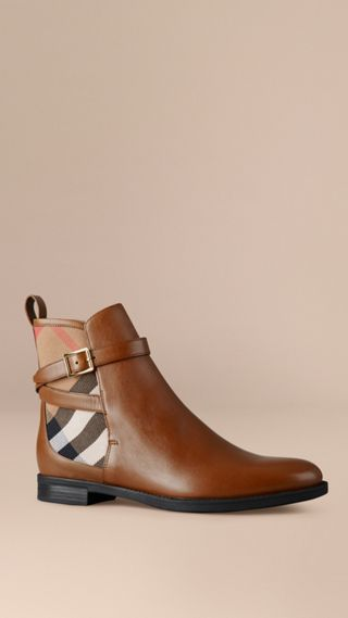 House Check Leather Ankle Boots